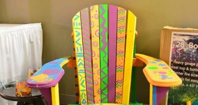 Chair for the live auction, painted by the kids at the 2016 camp