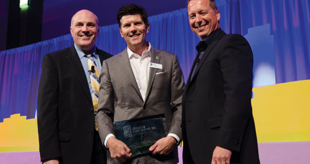 GFW Inc. Chairman Ron Turpin, GFW Inc. 2017 Chairman's Award Winner Andrew Thomas, GFW Inc. CEO Eric Doden