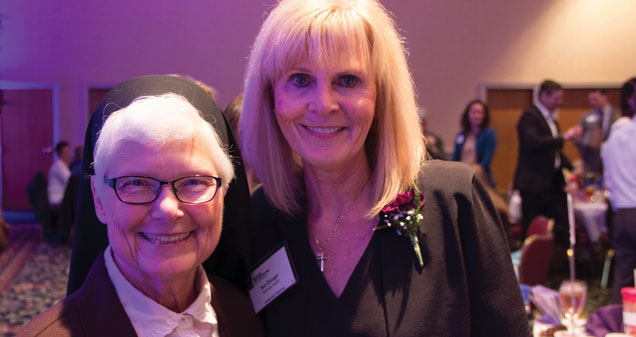 2017 ATHENA Leadership Award recipient Sue Ehinger, Parkview Health and 2008 ATHENA Leadership Award recipient Sister Elise Kriss, University of St. Francis