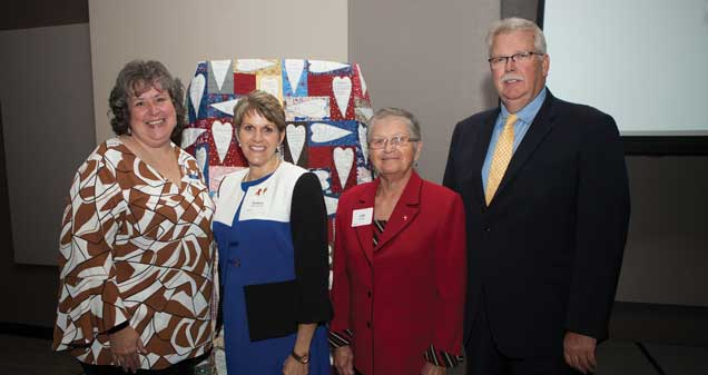 Cancer Services President/CEO Dianne May, Mayor SuzAnne Handshoe, 2017 Champion of Hope recipient Judy Hass and Cancer Services Board Chair Ed Souers